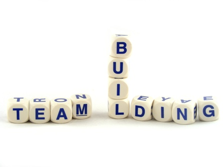 Team Building made of Spelling Blocks Isolated on a White Background