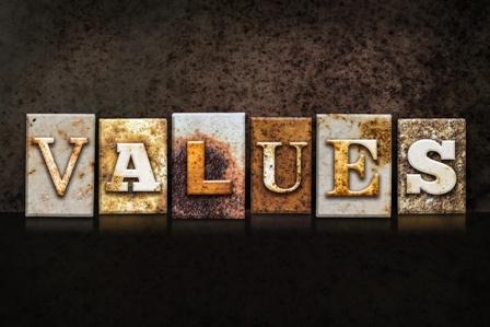 Values Letterpress Concept on Dark Background