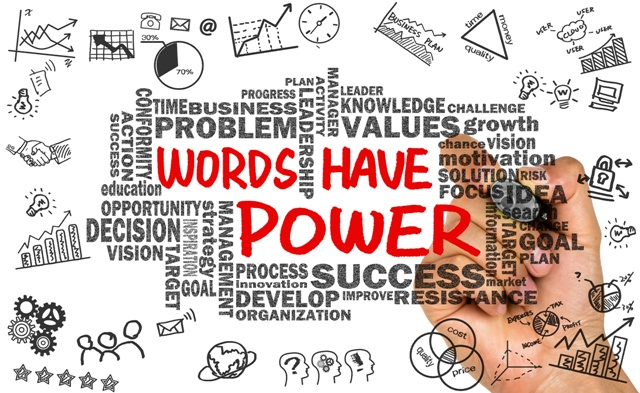 words have power with related word cloud hand drawing on whiteboard