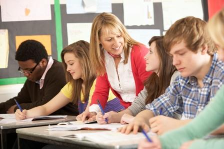 A teacher with high school students