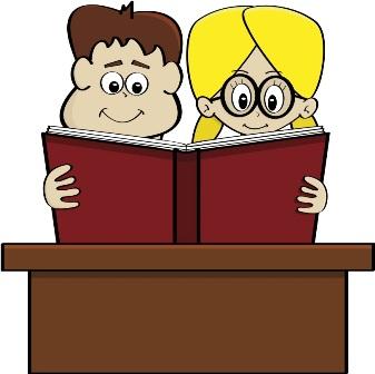 Cartoon students reading