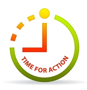 Time for action written in a circle
