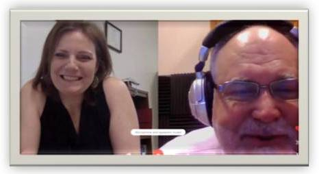 Split screen of Kelly and Steve on a Skype call