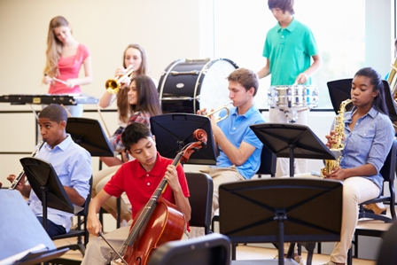 Students playing instruments in the middle school band