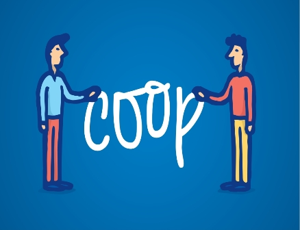 Cartoon illustration of two man holding coop or cooperation word