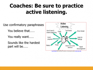 Coaches - be sure to practice active listening