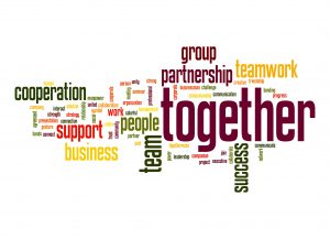 Cooperation, Together, Teamwork graphic
