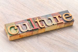 culture - word abstract in letterpress wood type printing blocks